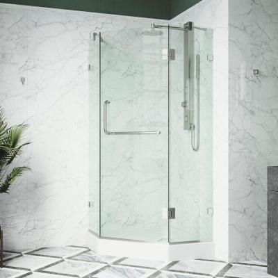Piedmont 38.125 in. x 78.75 in. Frameless Neo-Angle Shower Enclosure in Brushed Nickel with Base in White