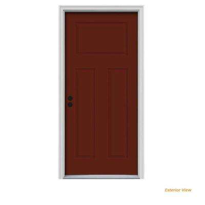 34 in. x 80 in. 3-Panel Craftsman Mesa Red Painted Steel Prehung Right-Hand Inswing Front Door w/Brickmould