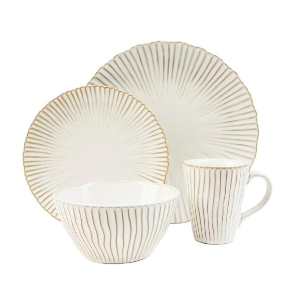 Portura 16-Piece Casual White Stoneware Dinnerware Set (Service for 4)
