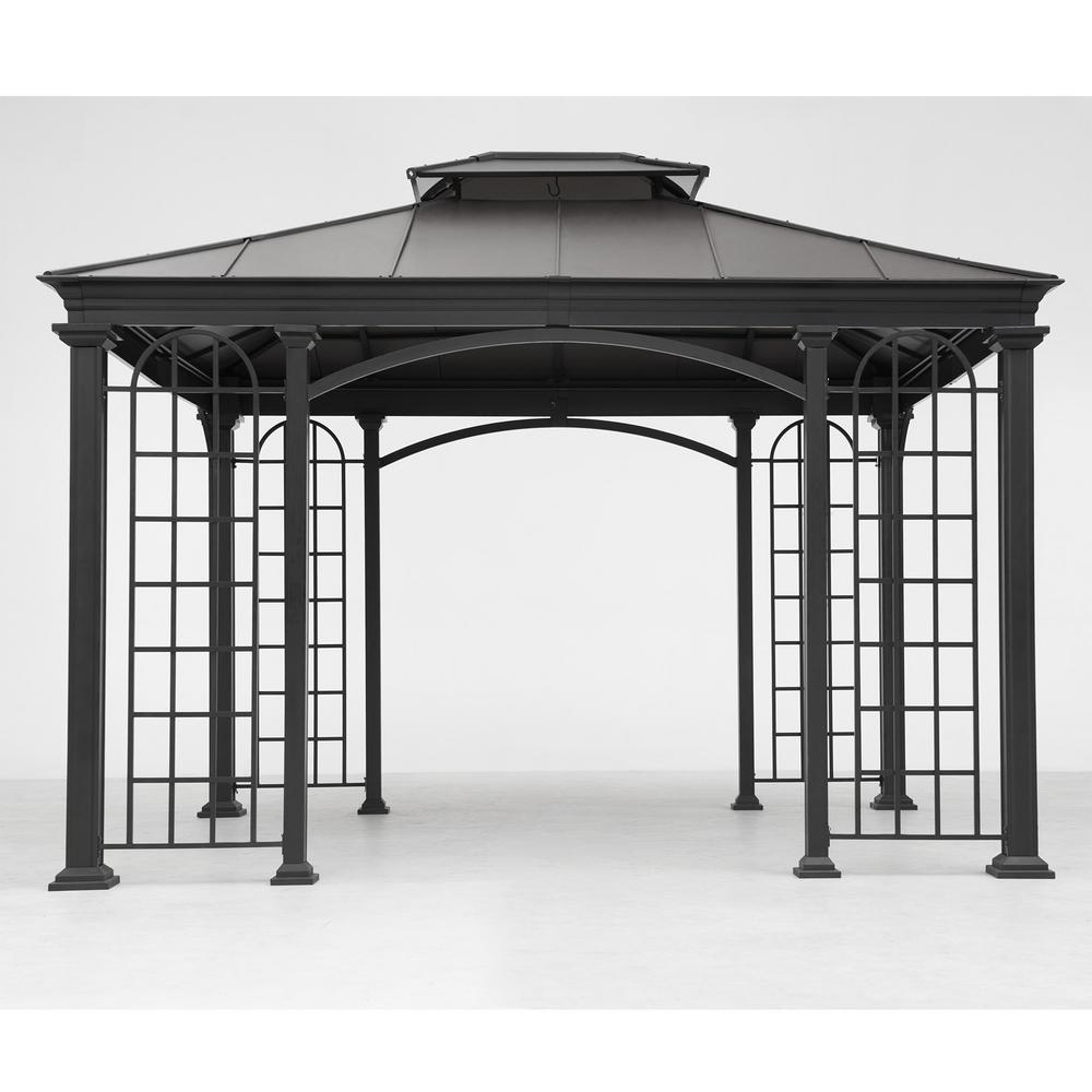 Sunjoy 12 ft x 10 ft Summerville Gazebo in Black Top110102048