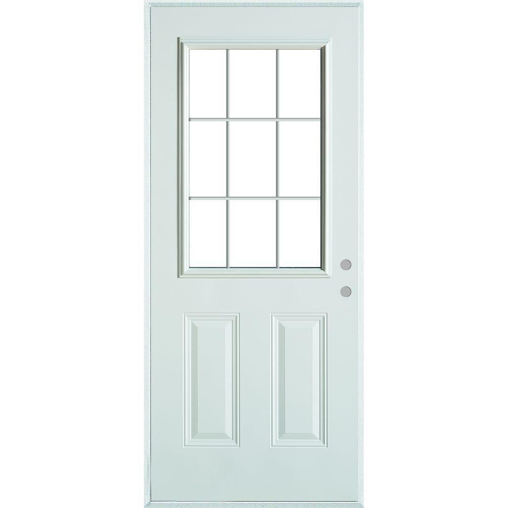 Stanley doors 36 in x 80 in colonial 9 lite 2 panel painted white left hand steel prehung - Painting a steel exterior door model ...