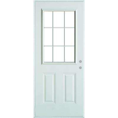 36 in. x 80 in. Colonial 9 Lite 2-Panel Painted White Left-Hand Steel Prehung Front Door with Internal Grille/Brickmold