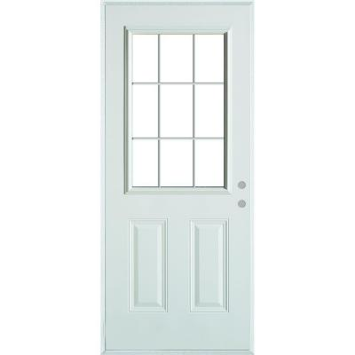 36 in. x 80 in. Colonial 9 Lite 2-Panel Painted White Left-Hand Steel Prehung Front Door with Internal Grille
