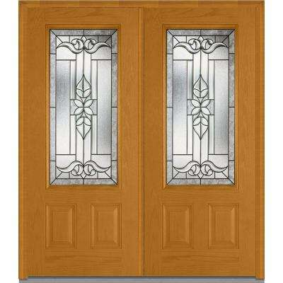 74 in x 8175 in cadence decorative glass 34 lite finished fiberglass - Exterior Double Doors