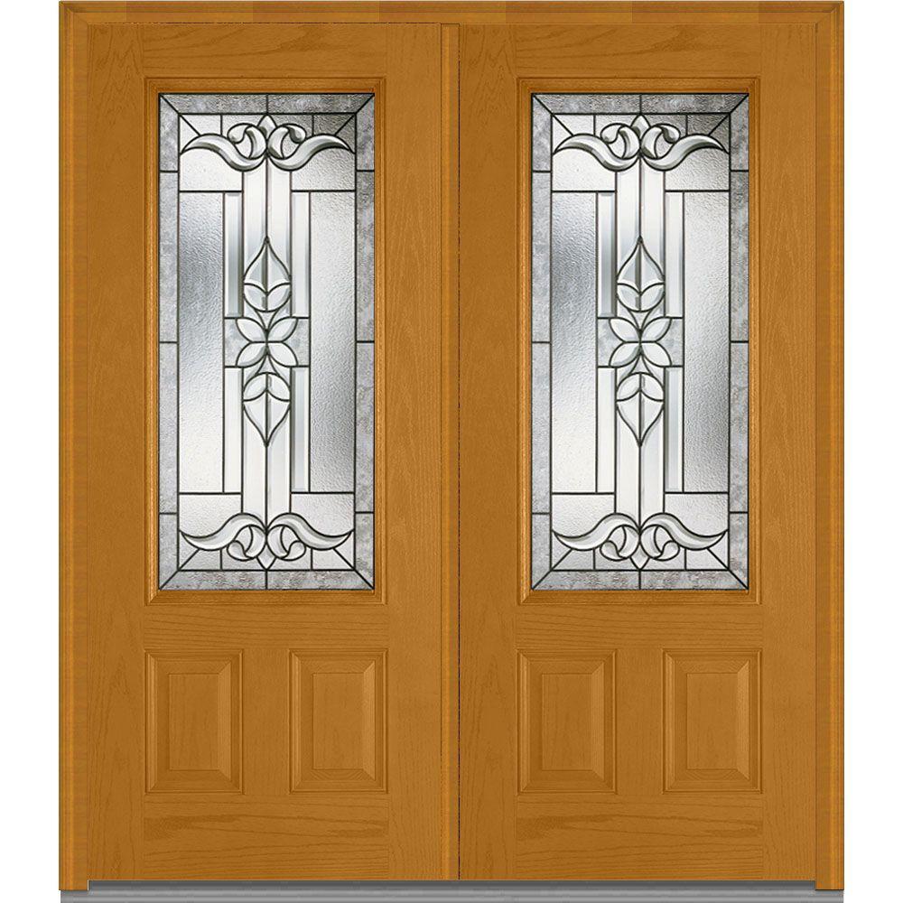 2 Panel - Light Brown Wood - Double Door - Front Doors - Exterior ...