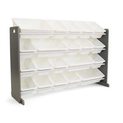 Inspire Grey and White Extra Large Storage Organizer with 20 Plastic Bins