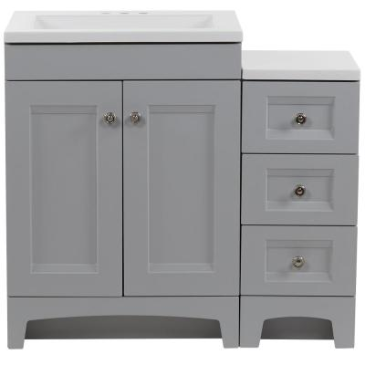 Delridge Bath Suite with 24 in. Vanity Top and Drawer Base in Pearl Gray