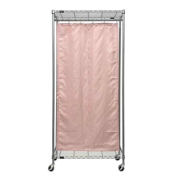 12 x 36 x 78 Single Curtain Mobile Privacy Partition Wire Shelving Unit