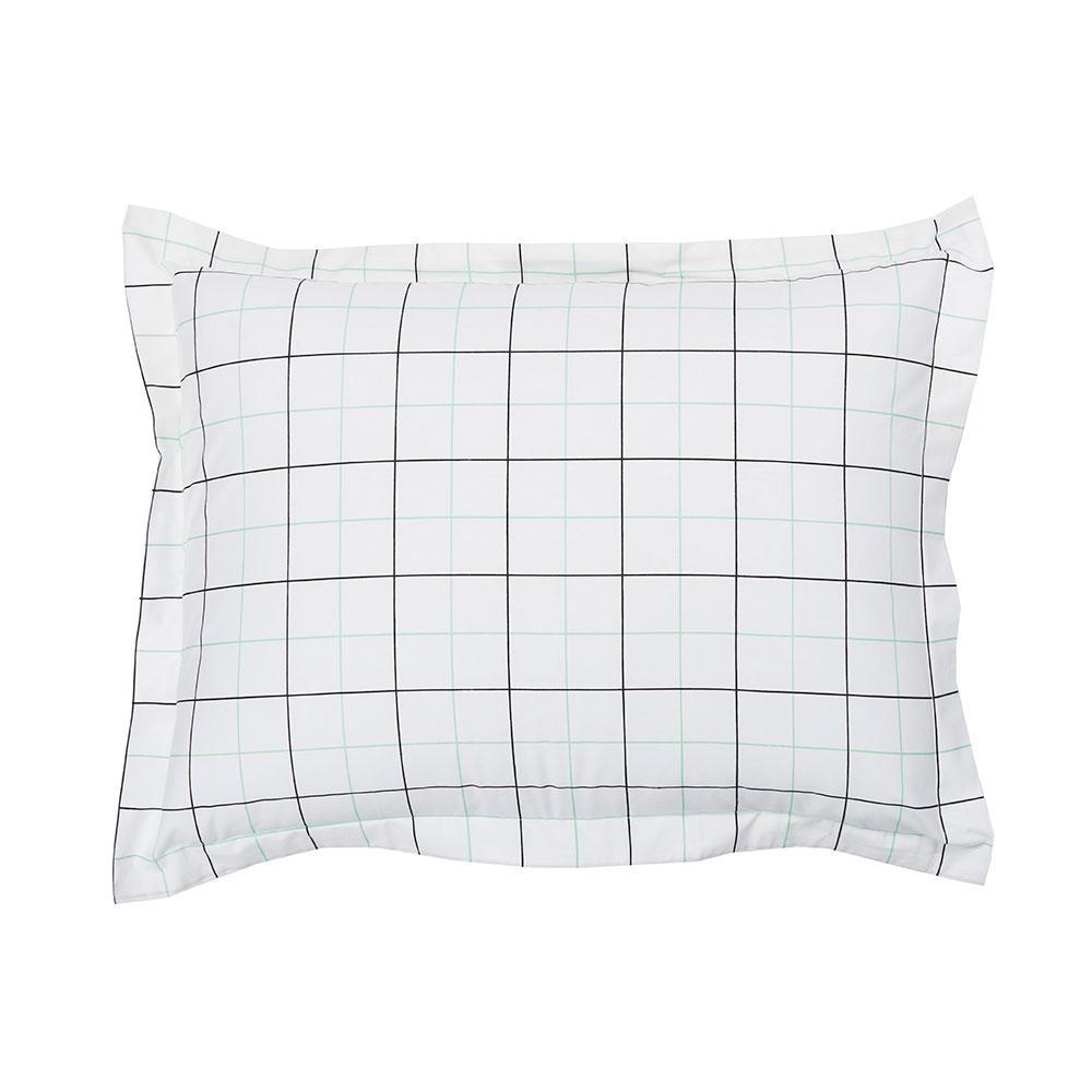 Grid Geometric Organic Cotton Percale Standard Sham