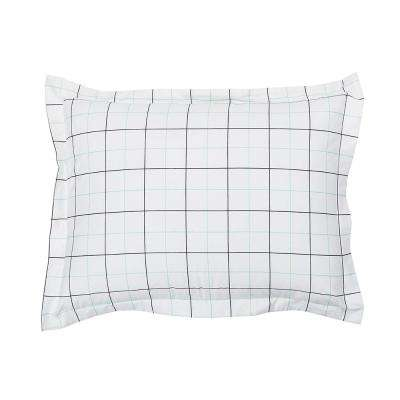 Grid Geometric Organic Cotton Percale King Sham