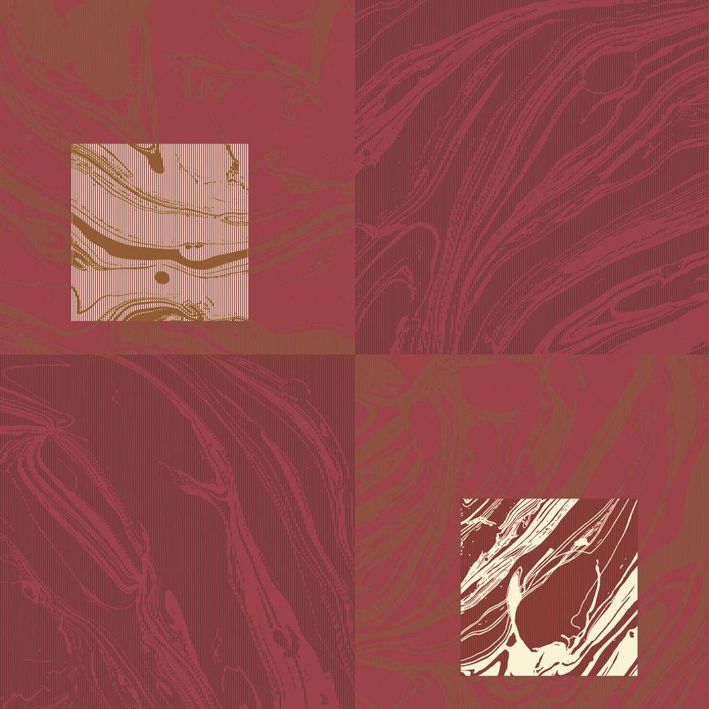 The Wallpaper Company 56 sq. ft. Red Large Scale Marbleized Squares Wallpaper