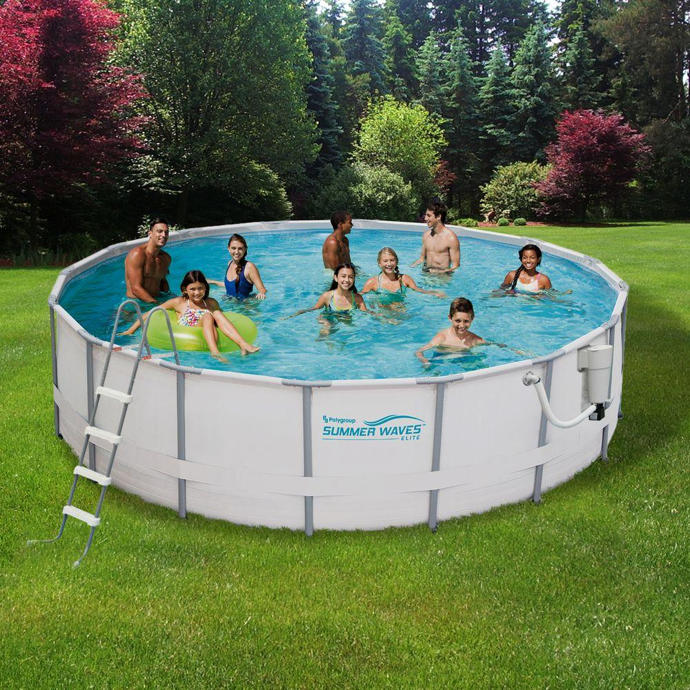 Summer waves elite 15 ft round 48 in deep metal frame swimming above ground pool nb2030 the for Round swimming pools above ground