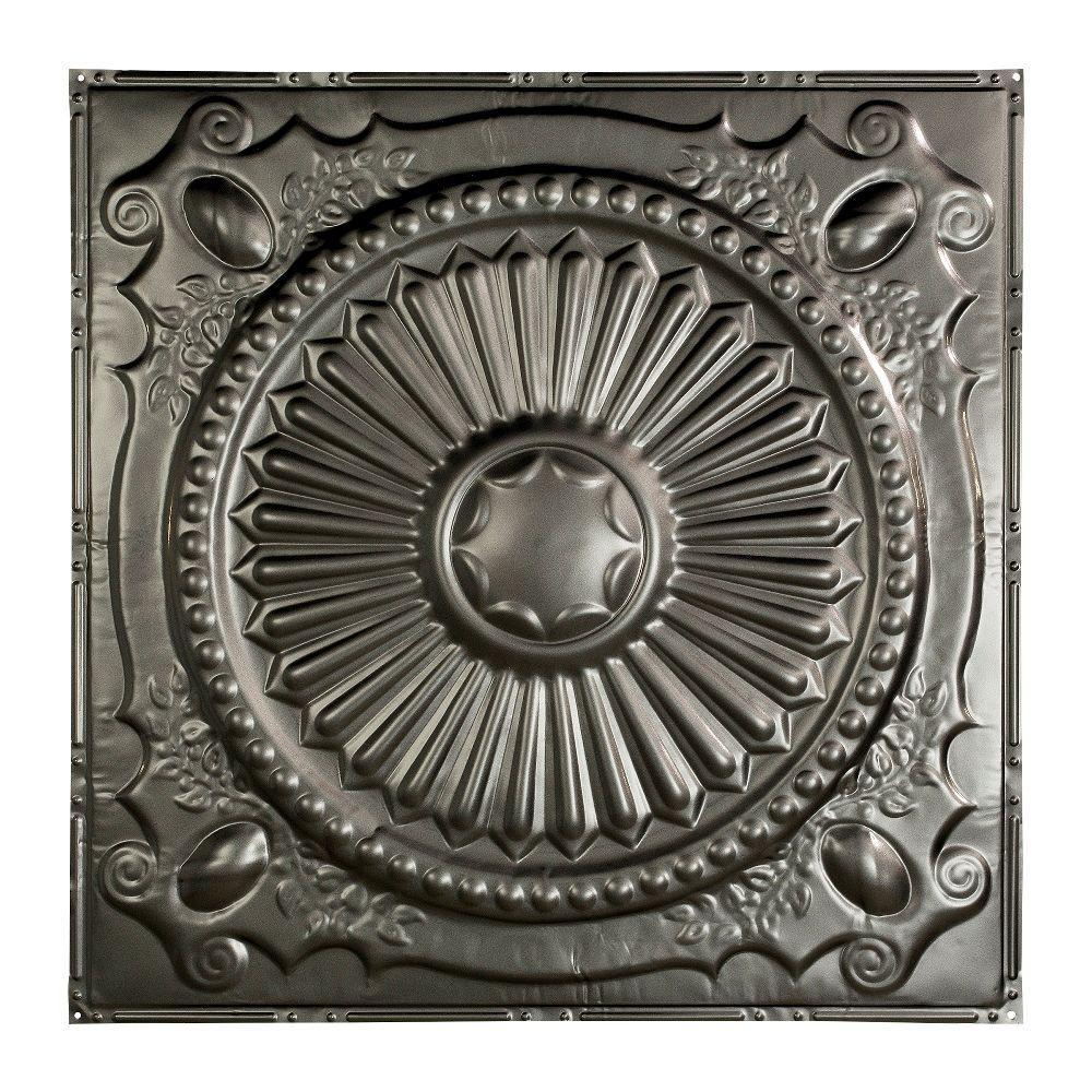 Great Lakes Tin Toronto 2 ft. x 2 ft. Nail-up Tin Ceiling Tile in Argento