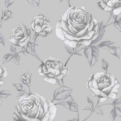 Countess Silver and White Removable Wallpaper