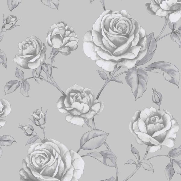 Countess Silver and White Removable Wallpaper Sample