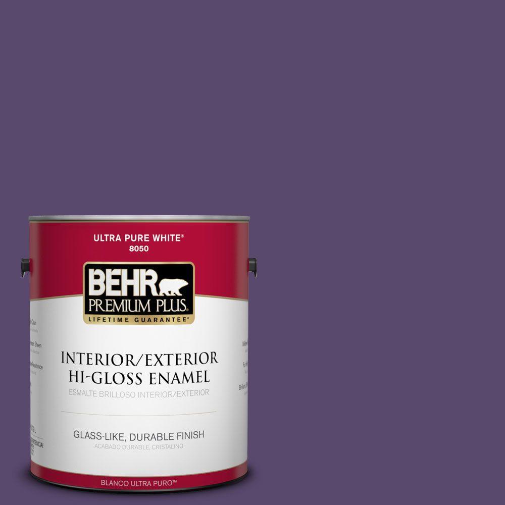 BEHR Premium Plus 1-gal. #P570-7 Proper Purple Hi-Gloss Enamel Interior/Exterior Paint