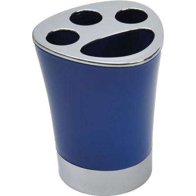Bath Toothbrush and Toothpaste Holder Chrome Parts Navy Blue