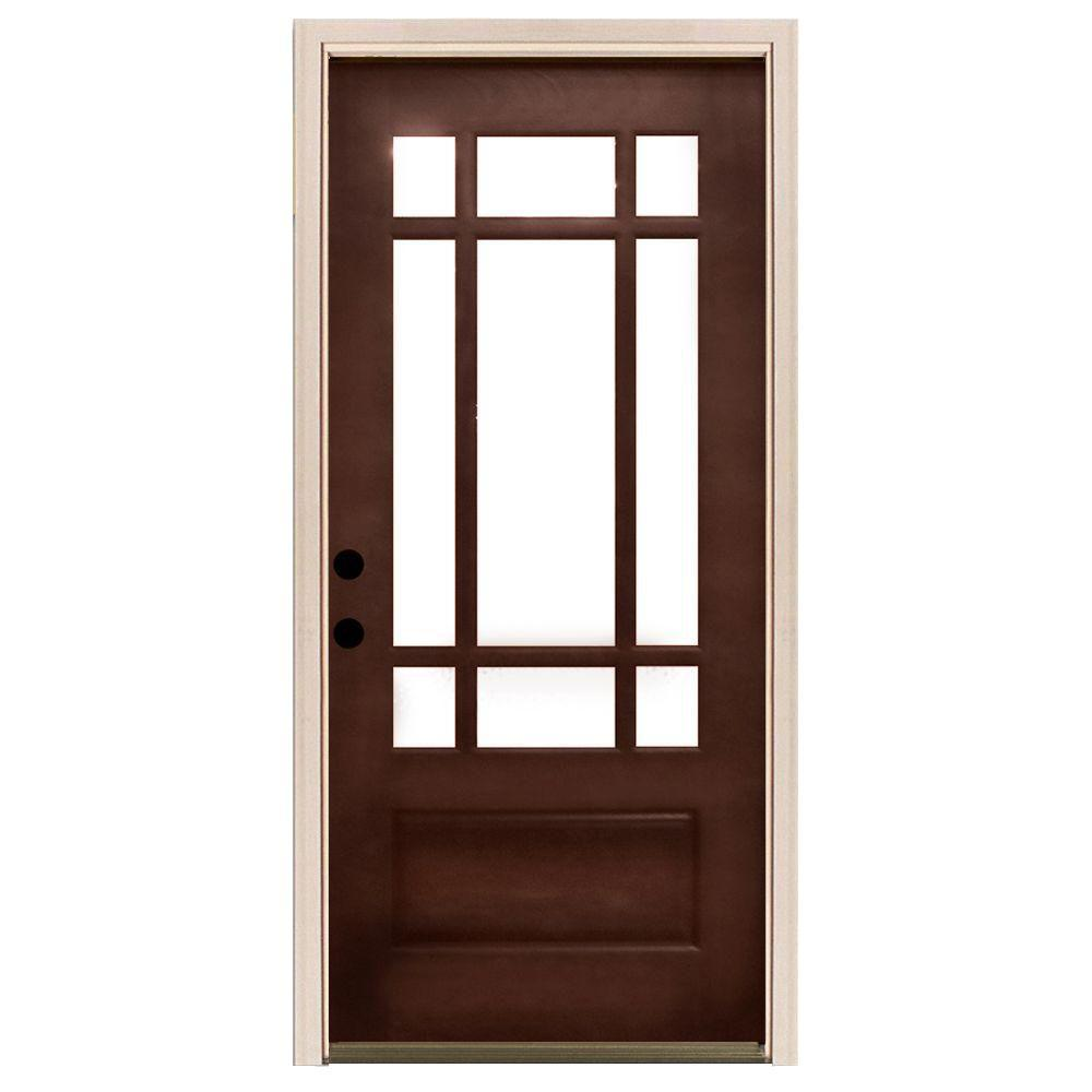 Steves sons 36 in x 80 in craftsman 9 lite stained for 15 lite exterior door with blinds