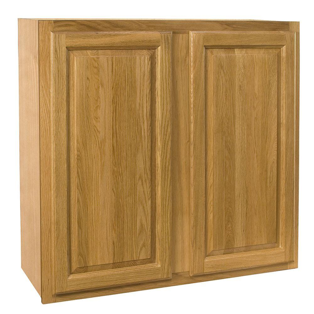 Home Decorators Collection Assembled 24x42x12 in. Wall Double Door Cabinet in Weston Light Oak