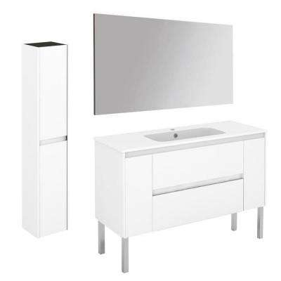 47.5 in. W x 18.1 in. D x 32.9 in. H Bathroom Vanity Unit in Gloss White with Mirror and Column