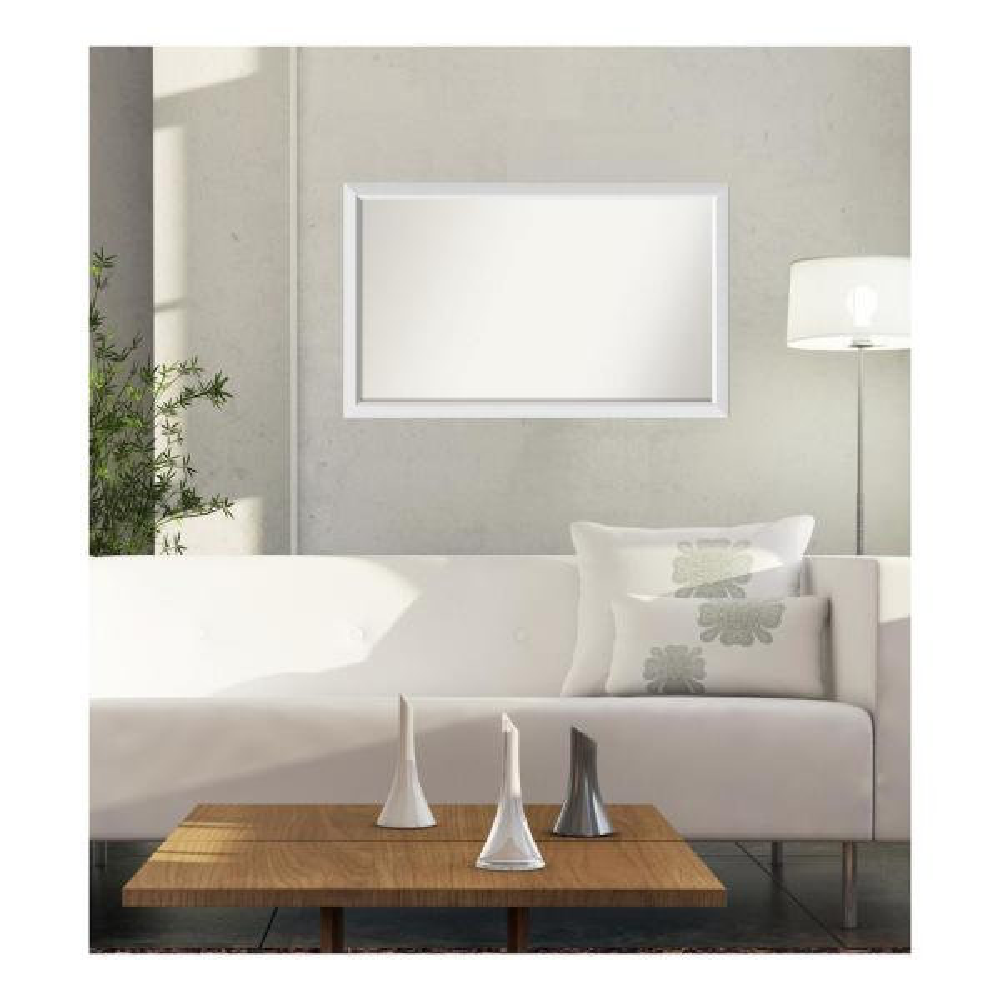 33 in. x 54 in. Blanco White Wood Framed Mirror
