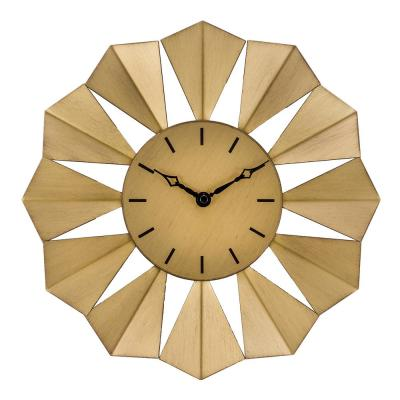 12.8 in. Gold Metal Sunray Quartz Wall Clock