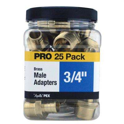 3/4 in. Brass PEX Barb x Male Pipe Thread Adapter Jar (25-Pack)