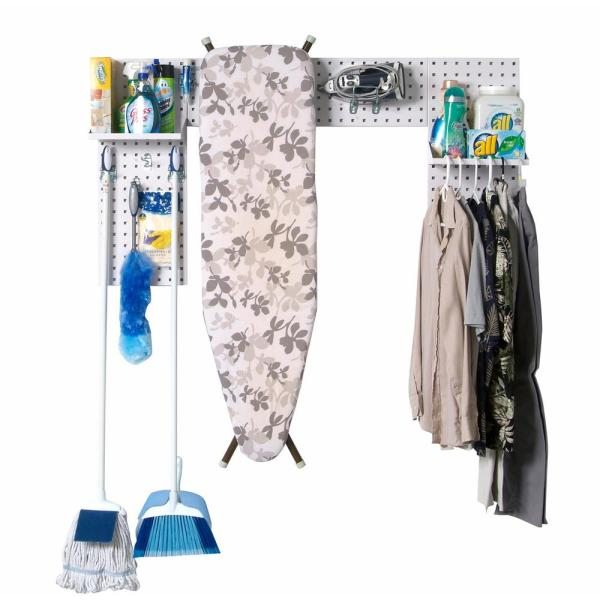 3/8 in. White (3) 18-Gauge Steel Square Hole Pegboard Laundry Room Organizer Kit