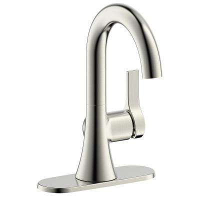 Fontaine Varenne 4 in. Centerset Single-Handle Modern Bathroom Faucet with Pop-Up Assembly in Brushed Nickel