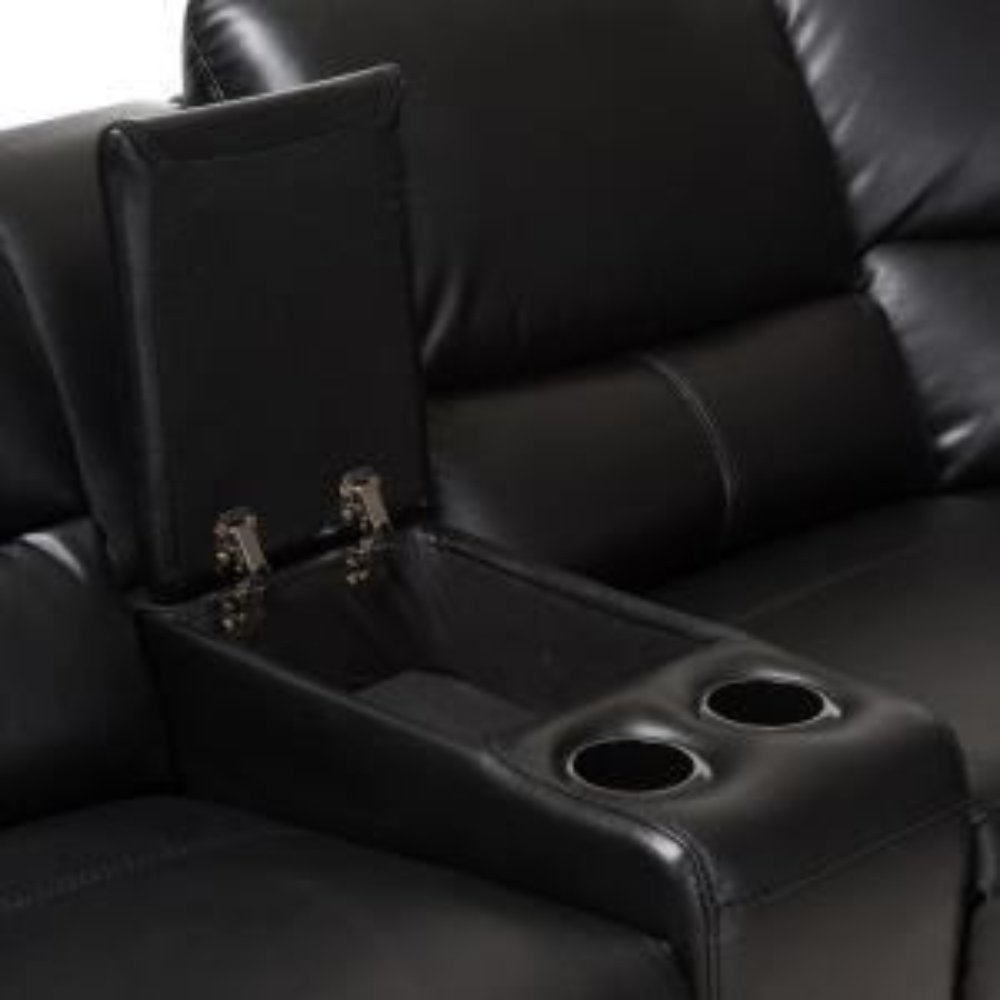 Baxton Studio Amaris 5-Piece Black Leather Reclining ...