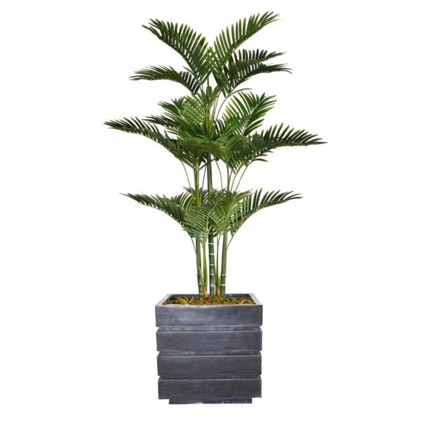 Laura Ashley 66 in. Tall Palm Tree Artificial Decorative Faux with Burlap Kit and Fiberstone Planter