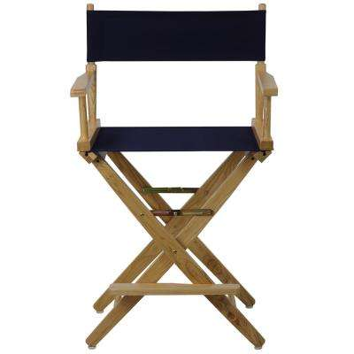 Natural Extra-Wide Frame/Navy Canvas American Hardwood 24 in. Directors Chair