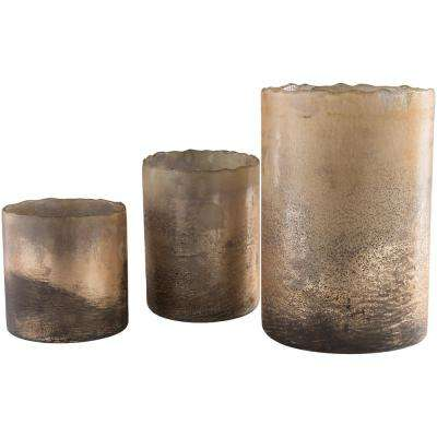 Niel Brown Glass 3-Piece Candle Holder Set