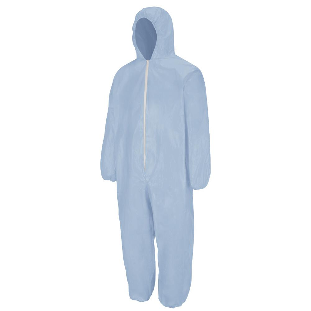 Men's Size 4XL Sky Blue Chemical Splash Disposable Flame-Resistant Coverall