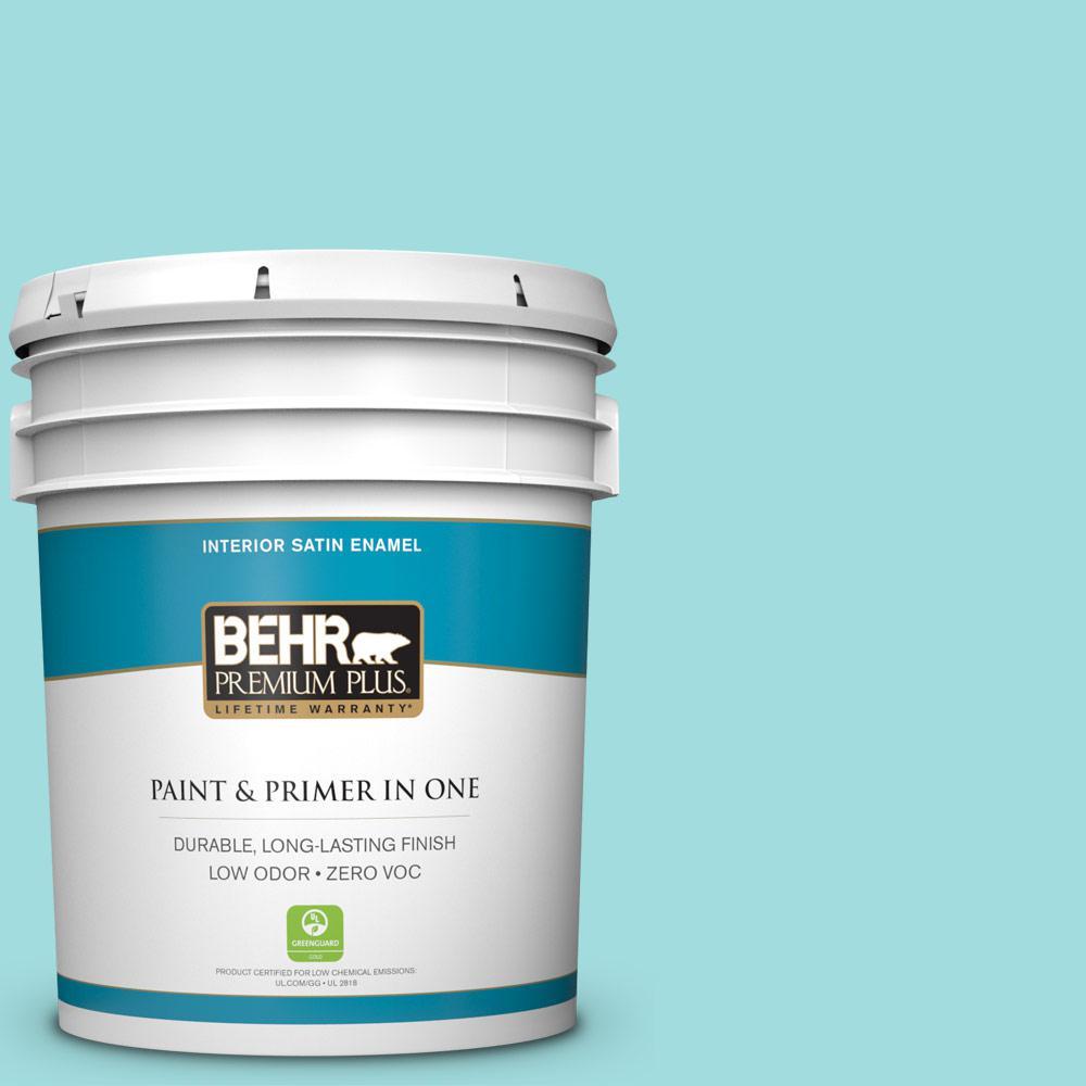 BEHR Premium Plus 5-gal. #500A-3 Aqua Spray Zero VOC Satin Enamel Interior Paint