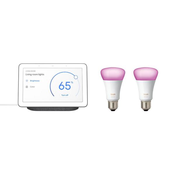 Nest Hub Charcoal and 2-Philips Hue White and Color Ambiance A19 LED Dimmable Smart Wireless Light Bulb