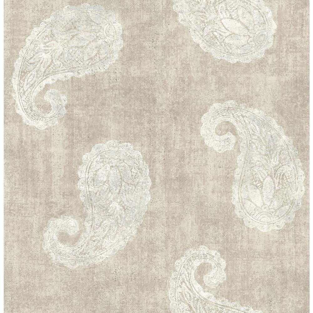 Kenneth James Kashmir Beige Paisley Wallpaper Sample 2671-22416SAM