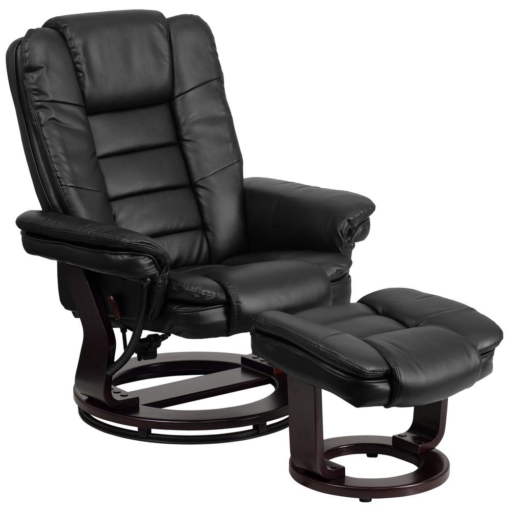 Contemporary Wooden Ottoman ~ Flash furniture contemporary black leather recliner and