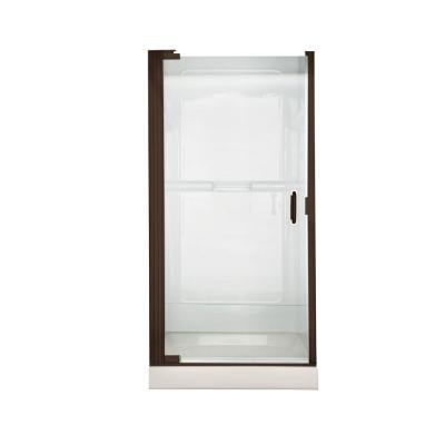 Euro 25.4 in. x 65.5 in. Semi-Frameless Continuous Hinged Pivot Shower Door in Oil-Rubbed Bronze with Clear Glass