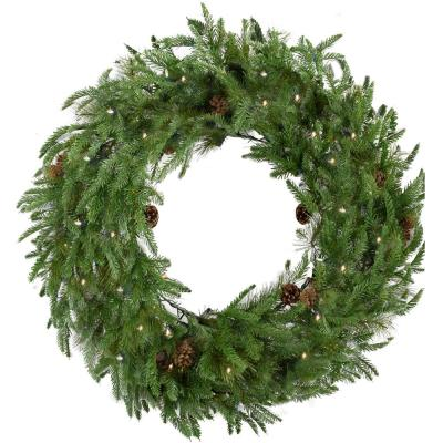 48 in. Norway Pine Artificial Holiday Wreath with Clear LED String Lights