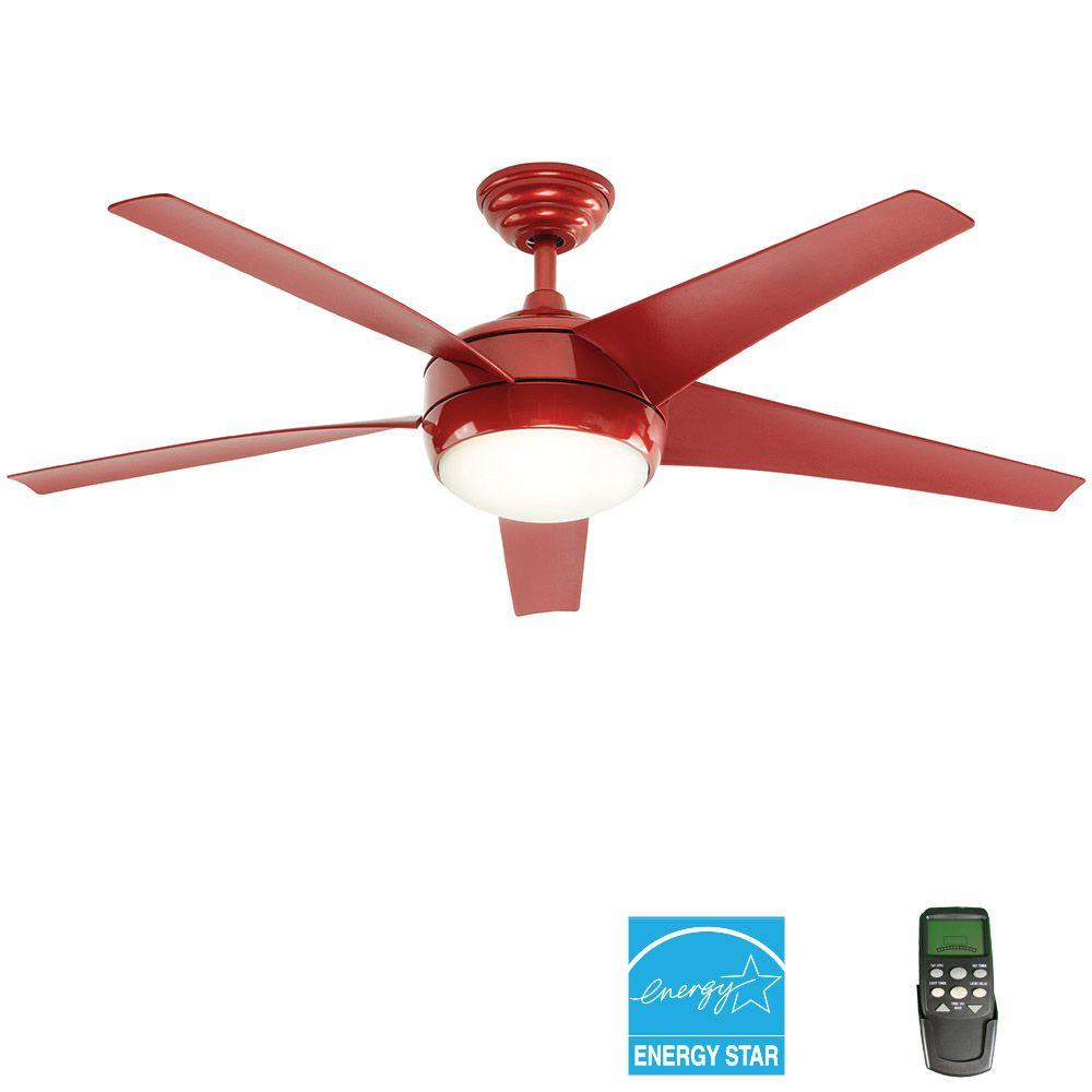 Home Decorators Collection Windward Iv 52 In Indoor Red Ceiling Fan With Light Kit And Remote