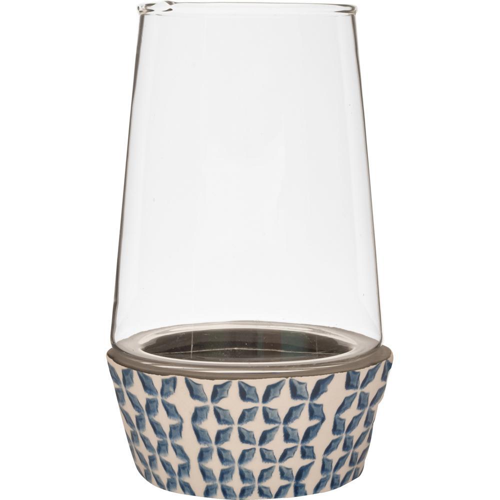 Vidro 5.5 in. W x 9.5 in. H Glass Terrarium with Blue and White Ceramic Dish