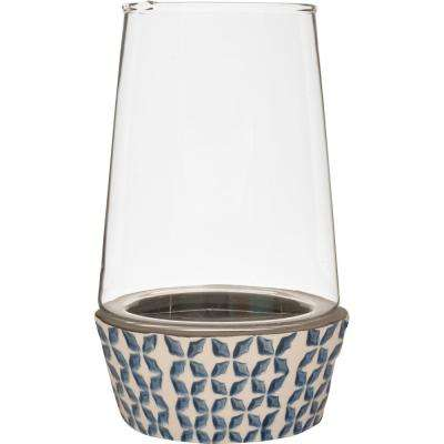 Vidro 5.5 in. W x 9.5 in. H Glass Terrarium with Blue and White Ceramic Dish