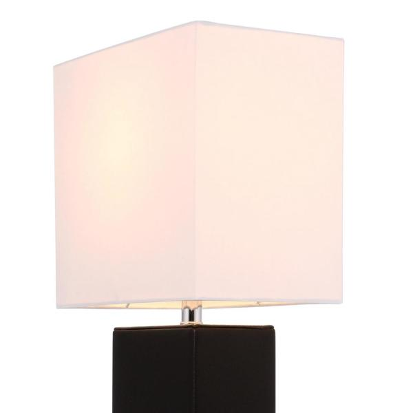 Modern White Leather Desk Table Lamp White Fabric Shade Monaco Avenue 21 in