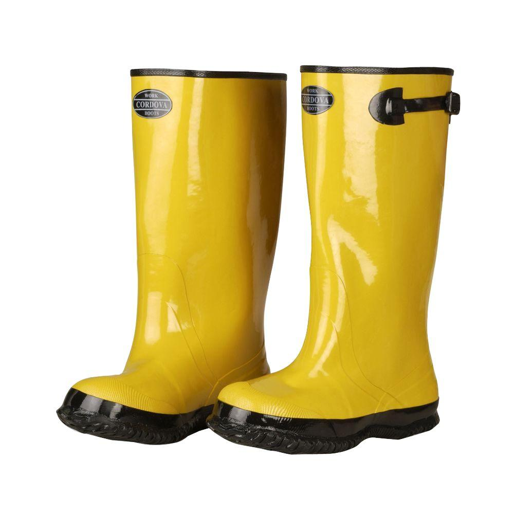 a030debbb9c39 This review is from:17 in. Over The Boot Rubber Slush Boot Cotton Lined Hi  Vis Yellow Top Strap and Buckle Size 14
