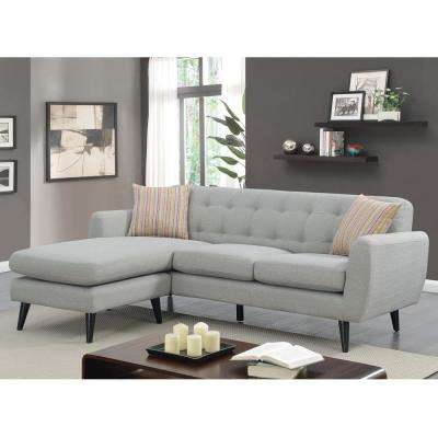Havana Collection Gray Modern Mid Century Polyester Upholstered Stationary Living Room Sectional with Reversible Chaise
