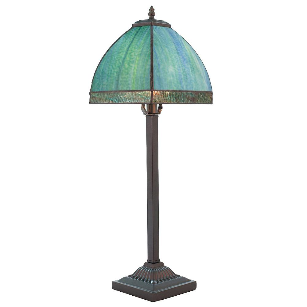 Aqua Bent Panel Table Lamp With Stained Glass Shade