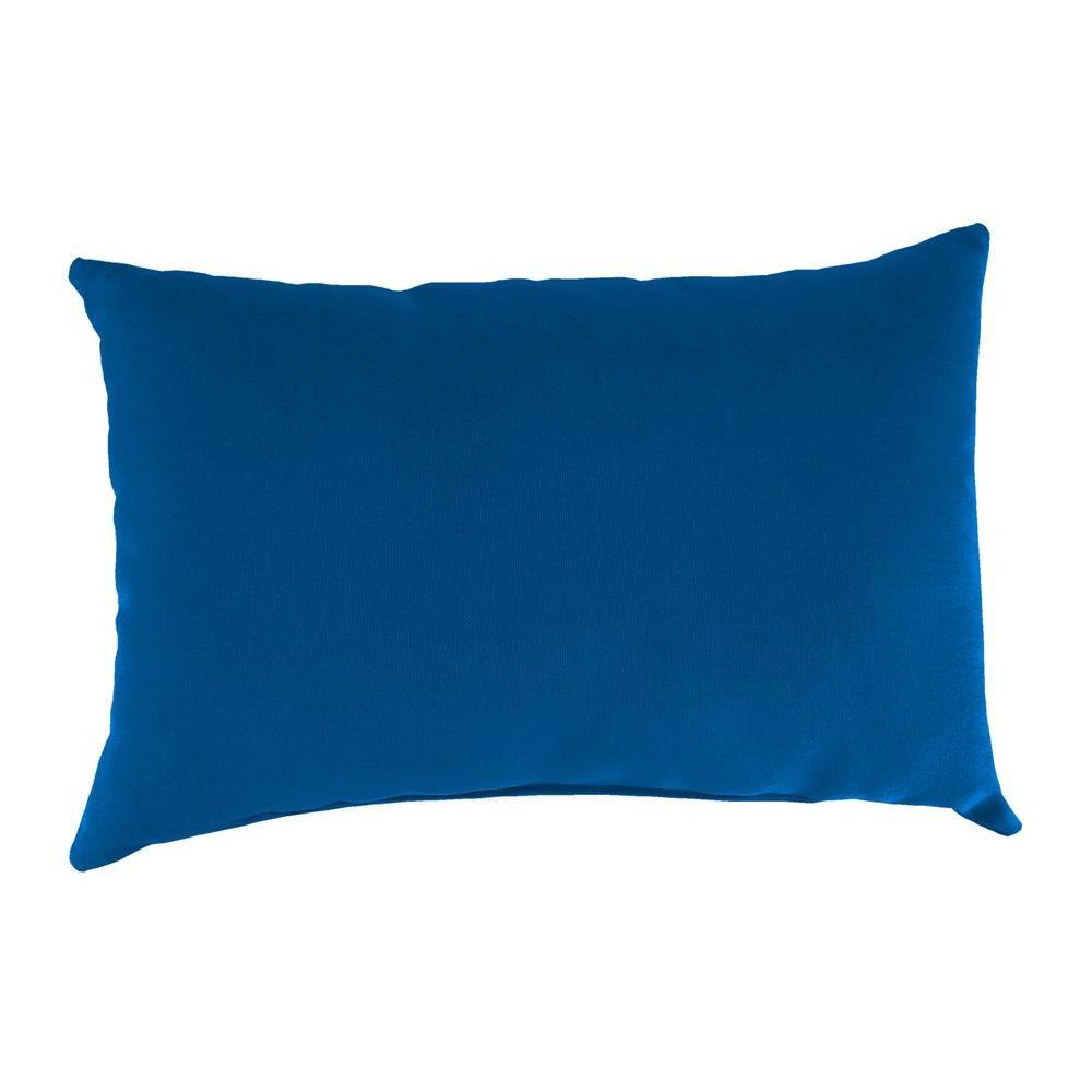 Sunbrella 19 in. x 12 in. Canvas Navy Lumbar Outdoor Throw Pillow