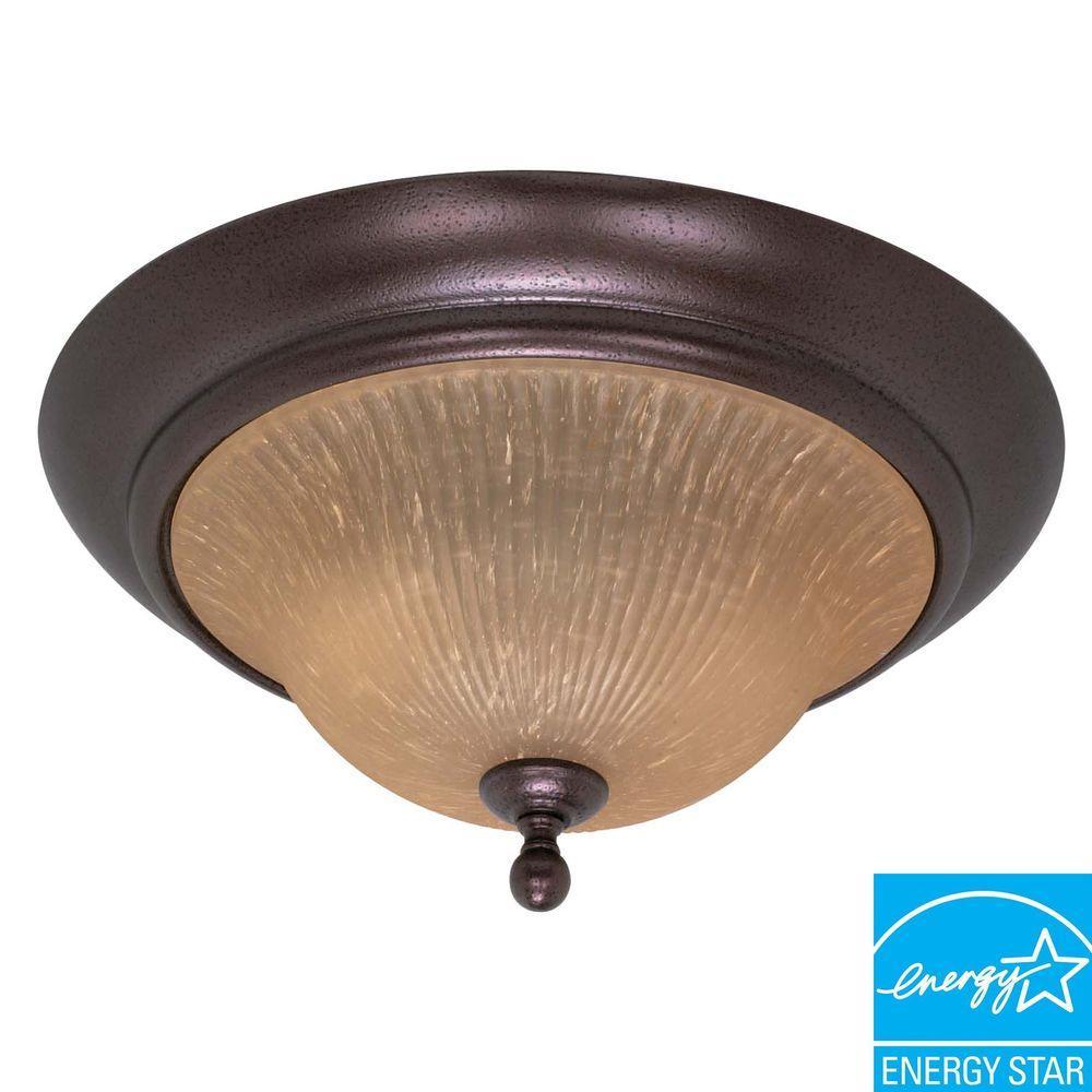 2-Light Flush-Mount Copper/Bronze Dome Fixture