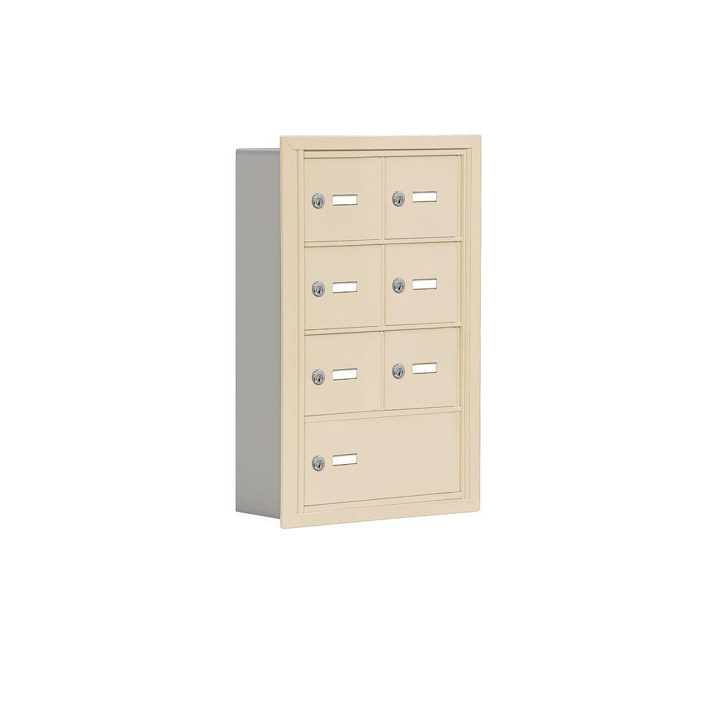 Salsbury Industries 19000 Series 17.5 in. W x 25.5 in. H x 5.75 in. D 6 A / 1 B Doors R-Mount Keyed Locks Cell Phone Locker in Sandstone